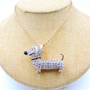Jewelry - Dachshund Dog White Crystal Pendant Necklace Long